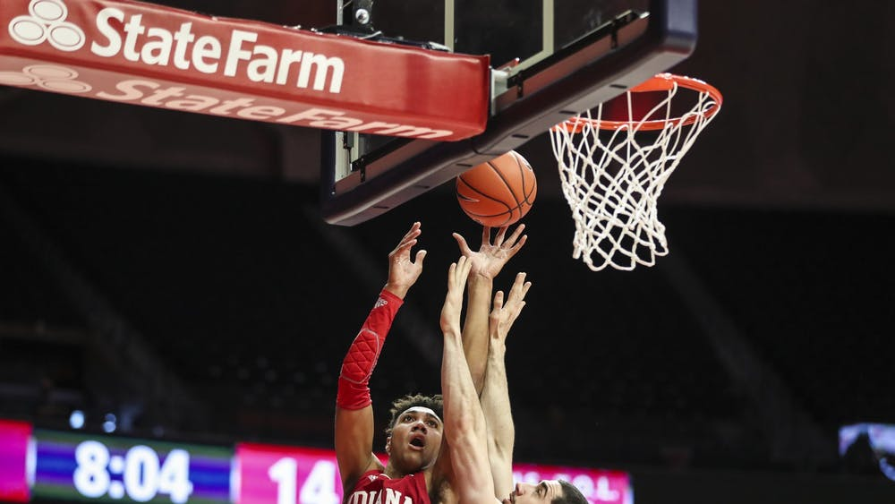 Sophomore forward Trayce Jackson-Davis shoots a lay-up Dec. 26 at the State Farm Center in Champaign, IL. Jackson-Davis scored 11 points against Illinois.