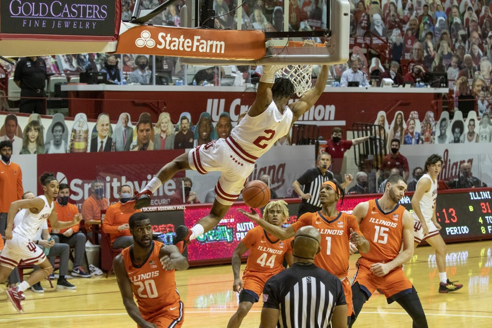 <p>Sophomore guard Armaan Franklin dunks the ball Feb. 2 in Simon Skjodt Assembly Hall. Franklin announced Thursday he will be transferring to the University of Virginia. </p>