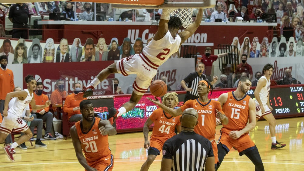 Sophomore guard Armaan Franklin dunks the ball Feb. 2 in Simon Skjodt Assembly Hall. Franklin announced Thursday he will be transferring to the University of Virginia.
