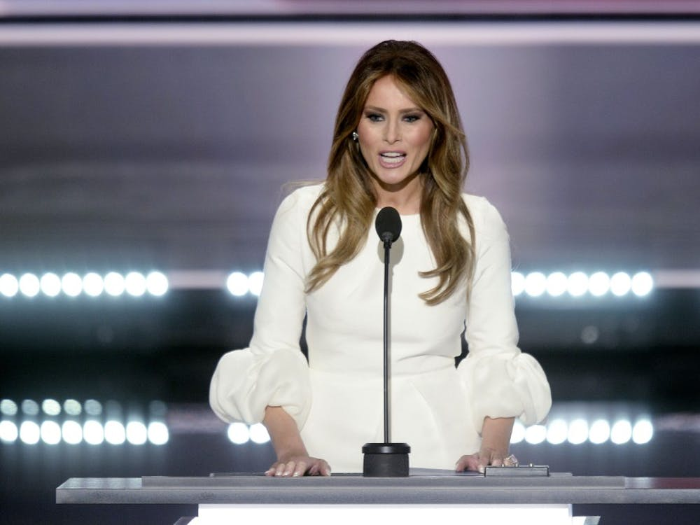 Melania Trump speaks on the first day of the Republican National Convention in Cleveland on Monday, July 18, 2016. (Olivier Douliery/Abaca Press/TNS)
