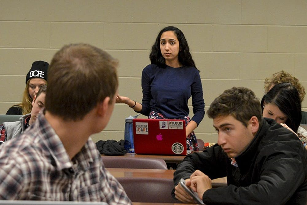 Current IUSA President Sara Zaheer argues budget for IUSA executives Tuesday, November 10, 2015 at Hodge Hall. Then Chief of Staff Zaheer defeated an IUSA congressional bill that would fluctuate stipends for IUSA executives based on the amount of money that the student government received as a whole.