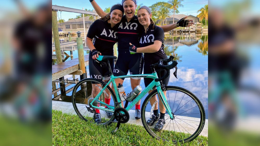 Alpha Chi Omega bike team seniors pose for a photo. The 2020 Little 500 was canceled due to the coronavirus pandemic.