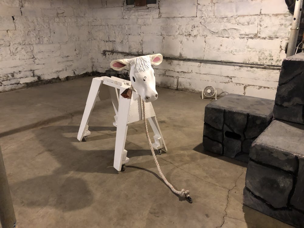 """The prop for Milky White, Jack's beloved """"cow as white as milk,"""" is pictured. The prop was rented from Mason's high school theater department in Michigan."""