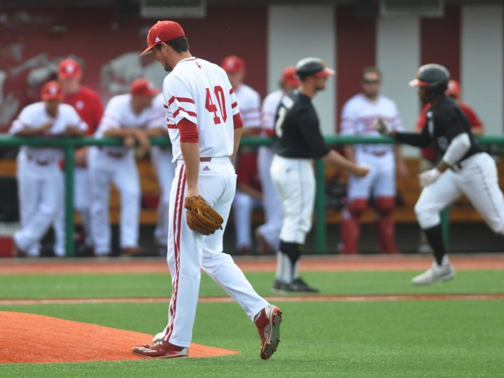 Pitcher Brian Hobbie walks back to the mound after giving up a 2-run Maryland Home Run in game 2 on Saturday.
