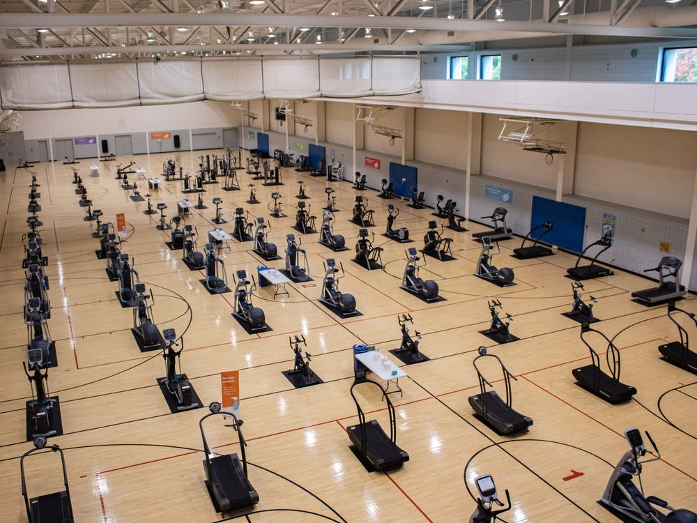 Cardio equipment lines the room occupying what used to be the basketball area of the Student Recreational Sports Center Oct. 04. The SRSC has undergone changes in response to the coronavirus pandemic.
