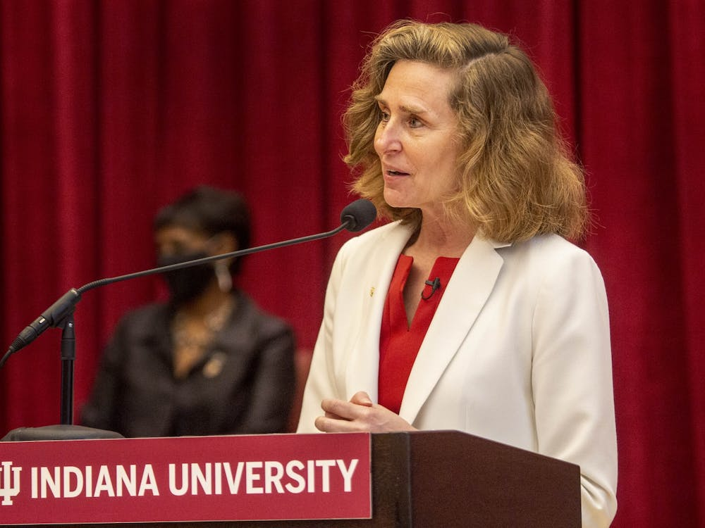 IU President-elect Pamela Whitten speaks April 16 in Neal Marshall Grand Hall. Whitten, president at Kennesaw State University, was elected as the 19th president of IU by the Board of Trustees on April 16.