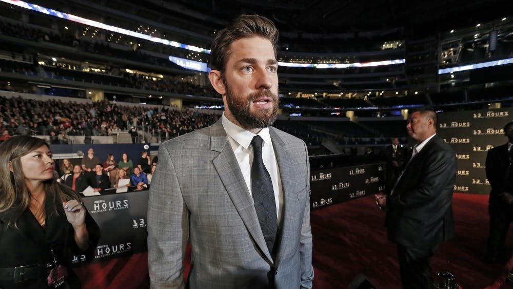 """John Krasinski attends the premiere of """"13 Hours: The Secret Soldiers of Benghazi"""" on Jan. 12, 2016, at AT&T Stadium in Arlington, Texas. To promote his new film, the horror thriller """"A Quiet Place,"""" Krasinski, the film's writer, director, star and executive producer, answered questions from student journalists via Skype."""