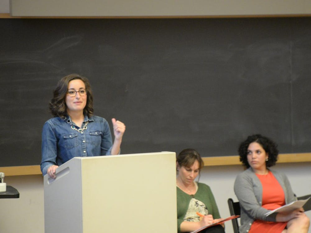 Reagan Kurk gives her speech about free speech at IU. The panel took place Thursday at theatre building.