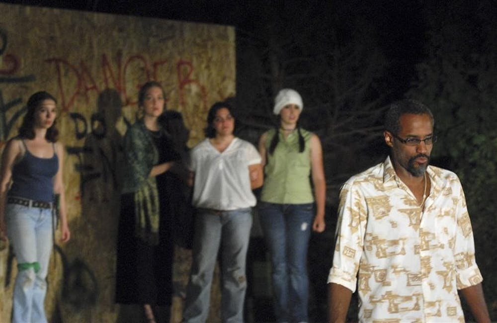 """Othello, played by Andy Alphonse, gives a final monologue before committing suicide after learning of the lies told to him by Iago about his wife Desdemona which caused him to kill her. William Shakepeare's """"Othello,"""" presented by the Monroe County Civic Theater, will run September 18 and 19 in the Third Street Park starting at 7pm."""