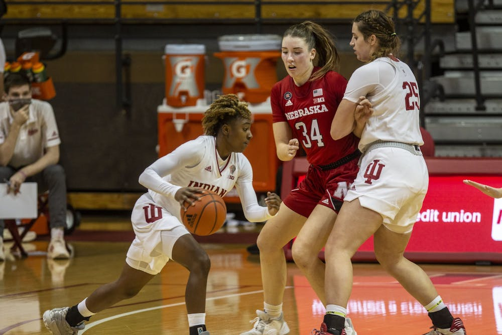 Sophomore Chanel Wilson dribbles around a defender Dec. 20, 2020, at Simon Skjodt Assembly Hall. IU beat Penn State 85-64 on Jan. 7 at the Bryce Jordan Center in University Park, Pennsylvania.