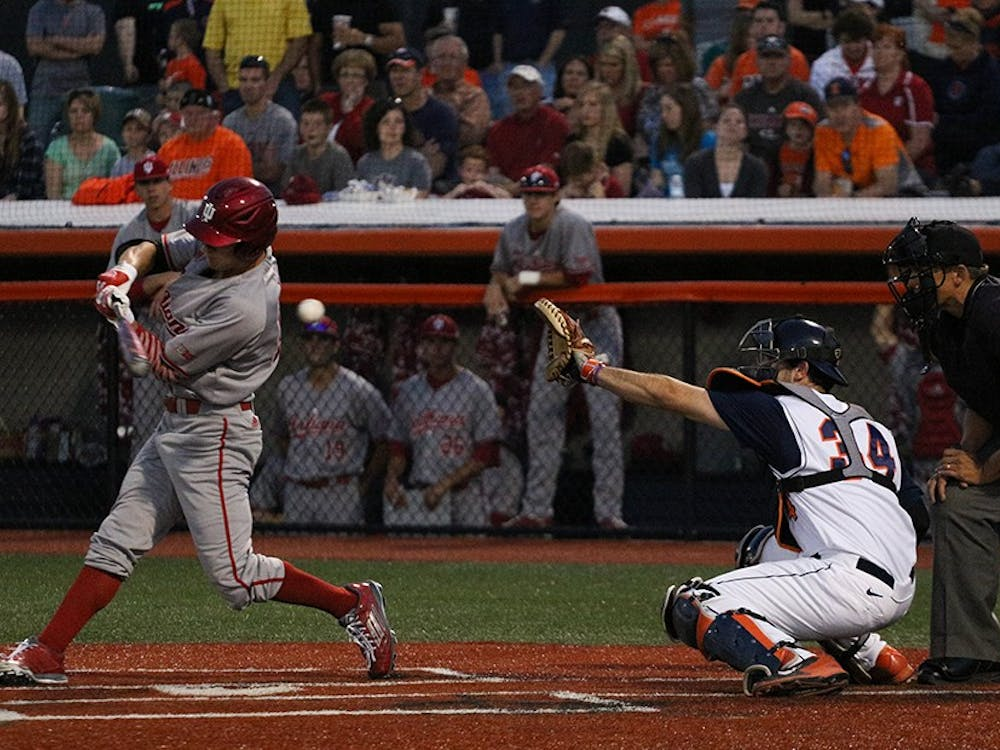 Senior outfielder Will Nolden swings at a pitch during the baseball game at Illinois Field on Friday. Illinois won 5-1.