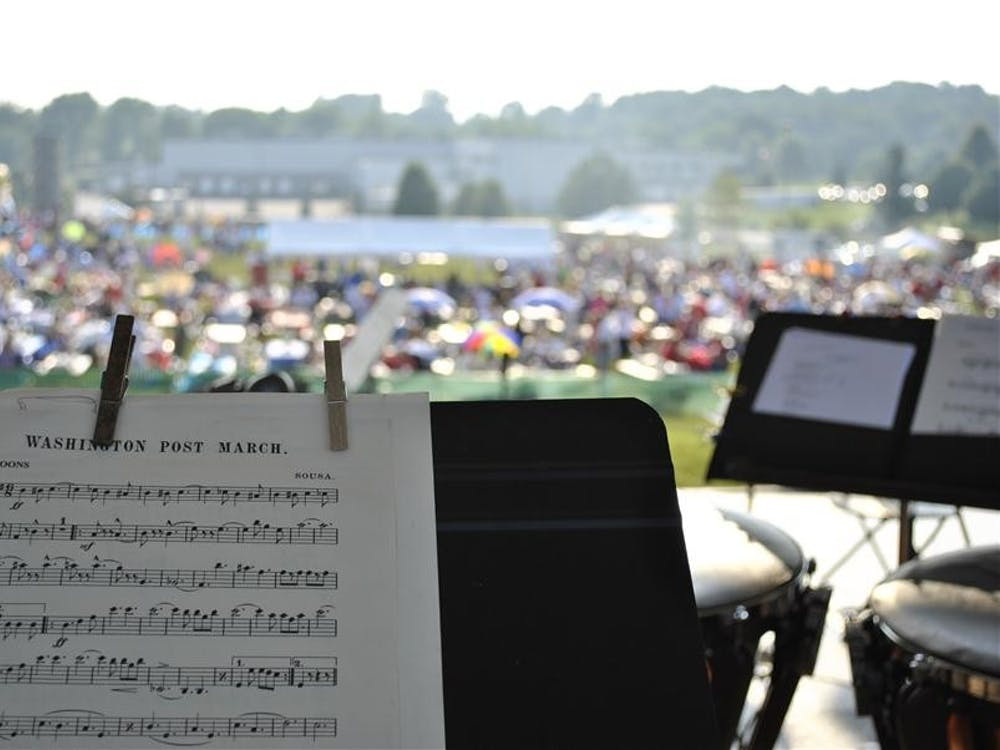 A view from the stage of the waiting crowd. The orchestra began with 'Washington Post March' before playing old standards and modern pop hits.