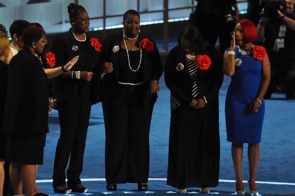 """<p>The mothers of Treyvon Martin,&nbsp;Sandra Bland, Jordan Davis and others, together appearing as """"The Mothers of the Movement,"""" on stage at the Democratic National Convention. The women&nbsp;spoke about their children,&nbsp;and the need for police and gun reforms.</p>"""