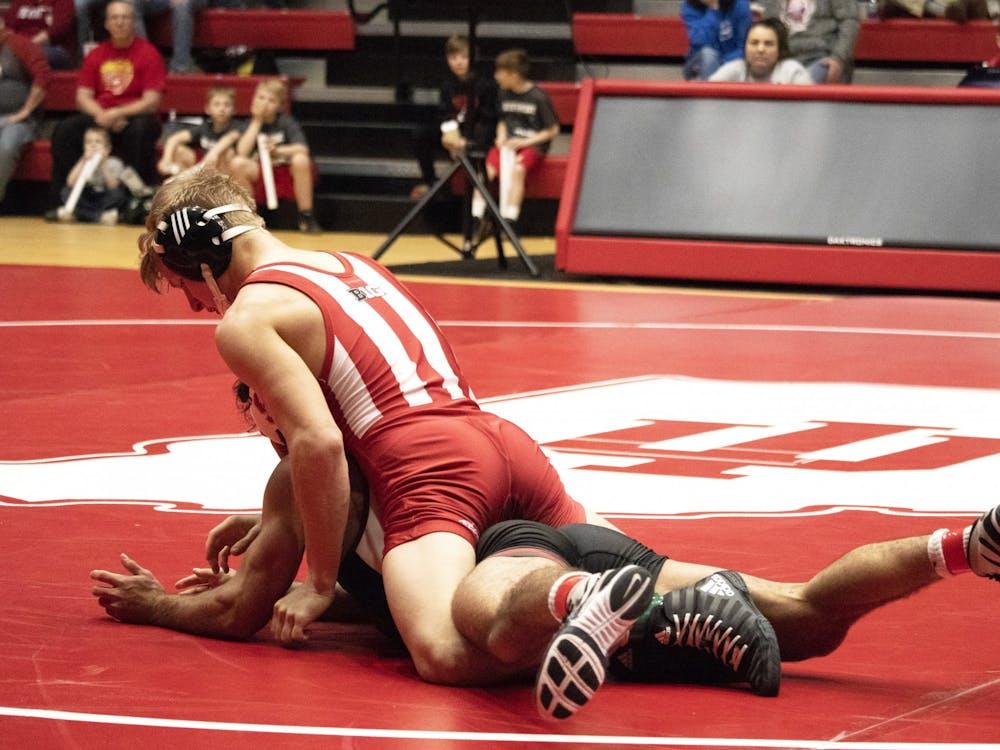 Then-freshman Kyle Luigs wrestles Feb. 9, 2019, in Wilkinson Hall. IU will face Michigan on Sunday in Ann Arbor, Michigan.