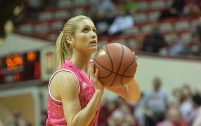 Junior guard Tyra Buss attempts a free throw against Northwestern on Saturday, Feb. 11, 2017in Simon Skjodt Assembly Hall.Buss was invited to the USA Basketball Women's U23 training camp on Tuesday.