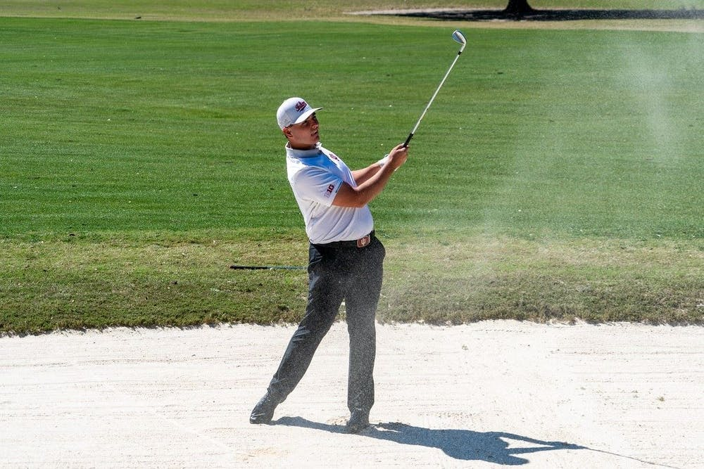 <p>Then-freshman Drew Salyers follows through his swing during the General Hackler Championship  March 14, 2021, in Myrtle Beach, South Carolina. Salyers was announced as the Big Ten Golfer of the Week Wednesday.</p>