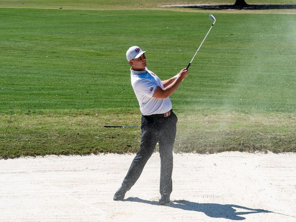 Then-freshman Drew Salyers follows through his swing during the General Hackler Championship  March 14, 2021, in Myrtle Beach, South Carolina. Salyers was announced as the Big Ten Golfer of the Week Wednesday.