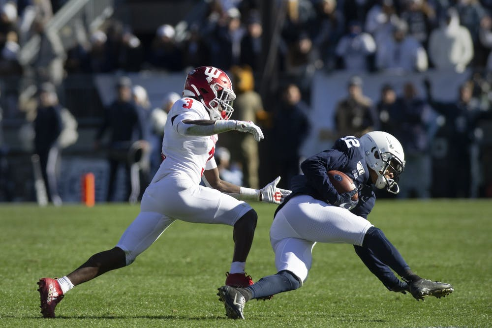 <p>Then-freshman Tiawan Mullen chases down Penn State wide receiver Mac Hippenhammer on Nov. 16, 2019, at Beaver Stadium in State College, Pennsylvania. IU will start the 2020 football season on Oct. 24 at home against Penn State.</p>