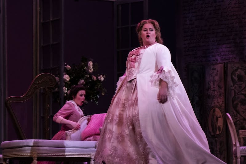 """Doctoral student Mary Martin sings in """"Le Nozze di Figaro"""" on Sept. 17 during a dress rehearsal at the Musical Arts Center. Martin played the role of Countess Almaviva in the show, which opens 7:30 p.m Friday in the Musical Arts Center."""