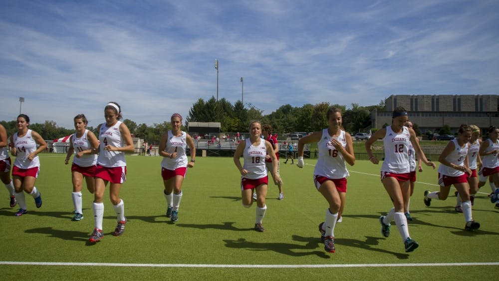 The IU Field Hockey team practices before their match against Robert Morris on Sunday at the IU Field Hockey Complex.