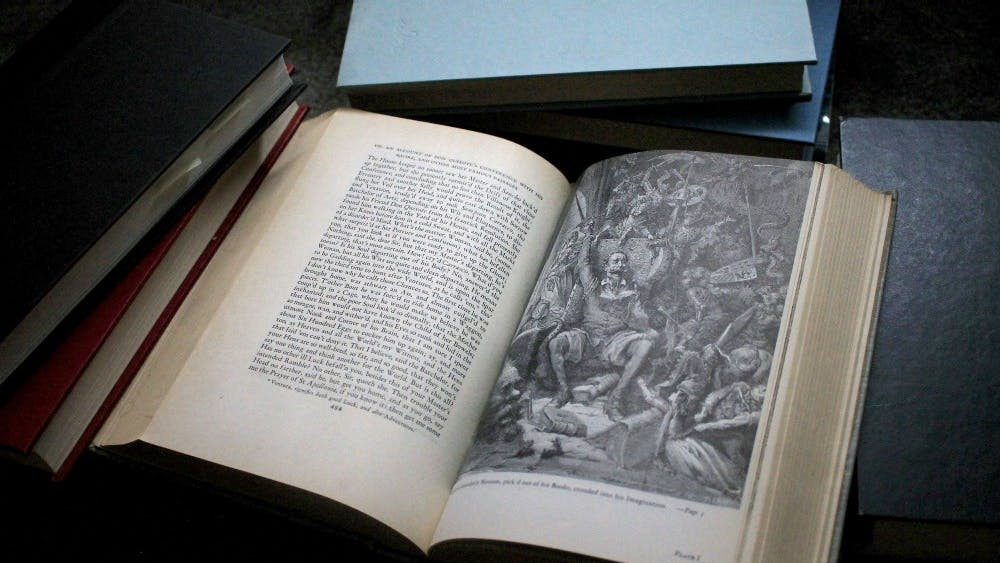 """A world of disorderly Notions, pick'd out of his Books, crouded into his Imagination,"" reads the text below the illustration. ""Don Quixote"" was written by Miguel Cervantes in 1615. It is the best-selling book of all time outside of religious texts."