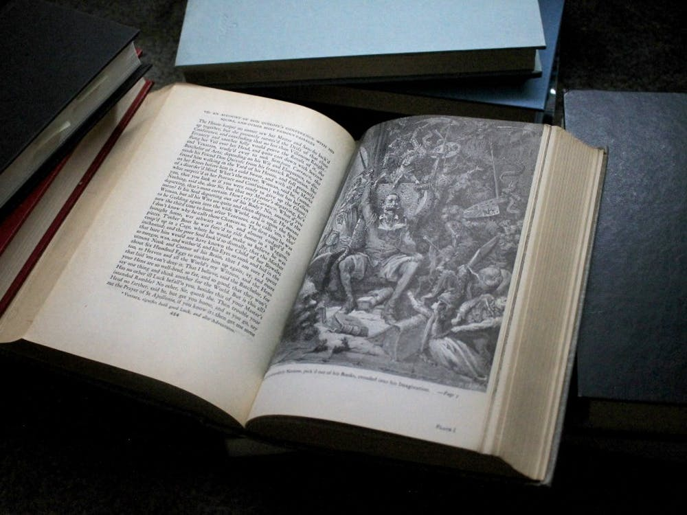 """""""A world of disorderly Notions, pick'd out of his Books, crouded into his Imagination,"""" reads the text below the illustration. """"Don Quixote"""" was written by Miguel Cervantes in 1615. It is the best-selling book of all time outside of religious texts."""