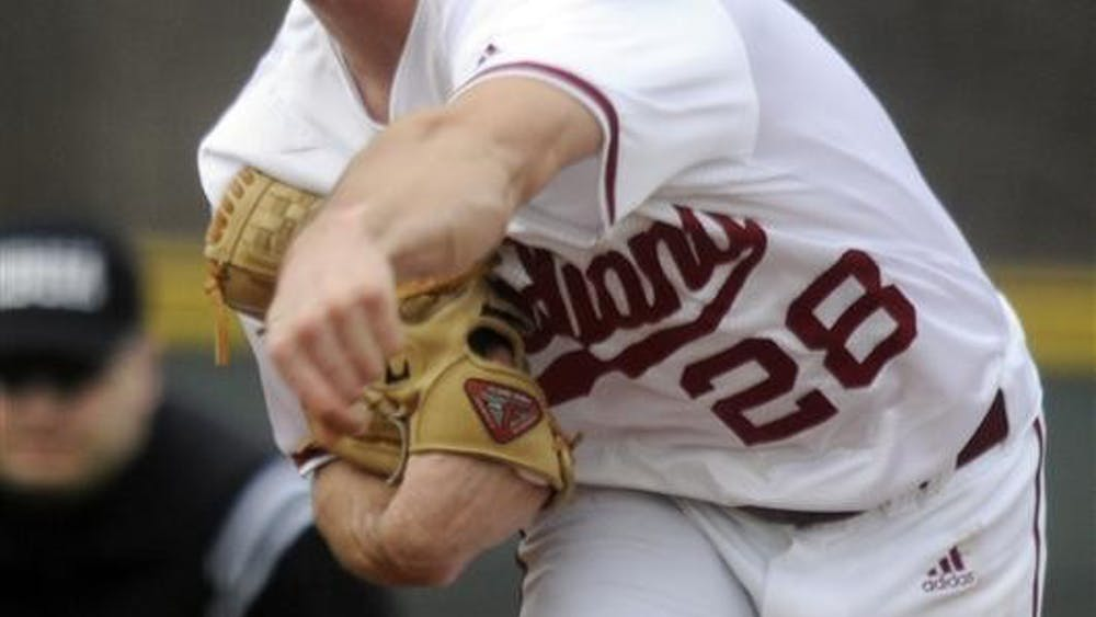 IU pitcher Marshall Gorham throws to a Morehead State batter during IU's 18-3 win Tuesday at Sembower Field.