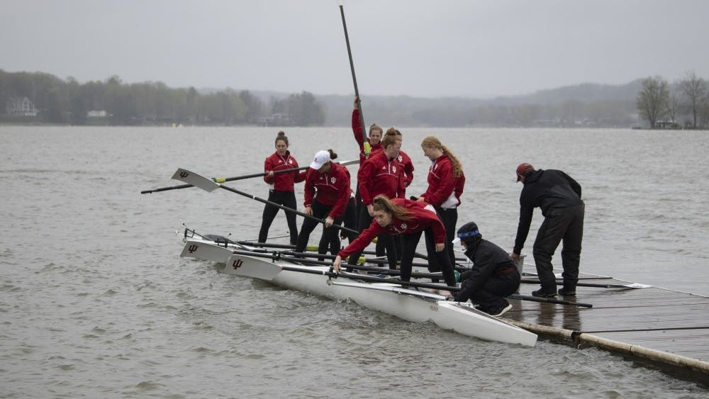 Rowers prepare to compete in the eleventh annual Dale England Cup against the University of Notre Dame and Michigan State on April 20, 2019, at Dale Rowing Center on Lake Lemon. IU will compete in Columbus, Ohio, on Saturday.