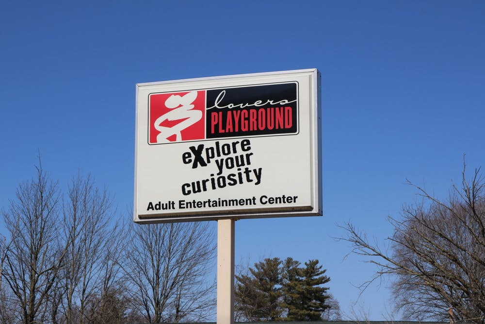 "<p>The sign outside of ""Lovers Playground"" is pictured. Bloomington adult entertainment businesses such as Lovers Playground experienced an increase in customers after the pandemic began.</p>"