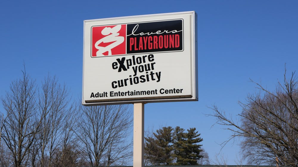 "The sign outside of ""Lovers Playground"" is pictured. Bloomington adult entertainment businesses such as Lovers Playground experienced an increase in customers after the pandemic began."