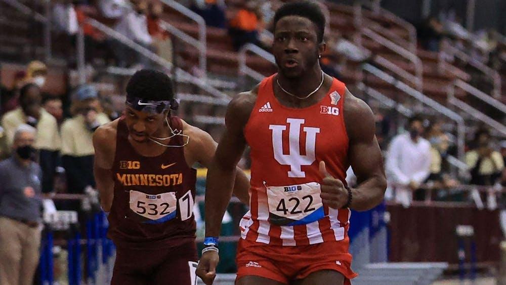 <p>Redshirt junior Rikkoi Brathwaite sprints in the 60-meter race Feb. 27 in Geneva, Ohio. Brathwaite was named Big Ten Track Athlete of the Year on Wednesday night. </p>