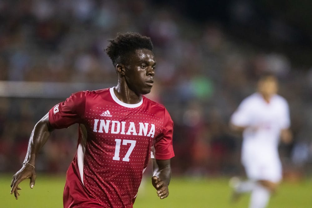<p>Junior forward Herbert Endeley runs after the ball on Sept. 17, 2021, at Bill Armstrong Stadium. Endeley assisted on Tommy Mihalic&#x27;s goal in the 18th minute of Indiana&#x27;s game against Ohio State on Tuesday. </p>