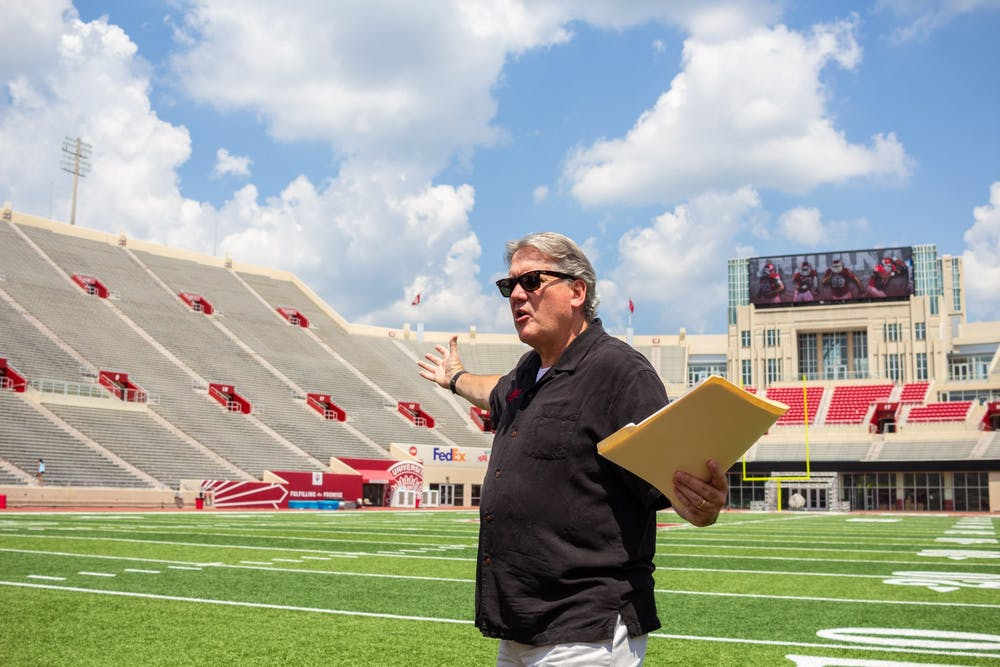<p>Former IU Athletic Director Fred Glass prepares to give a tour of the new south end zone complex July 25, 2018, at Memorial Stadium. Glass&#x27; final day as athletic director was June 30.</p>