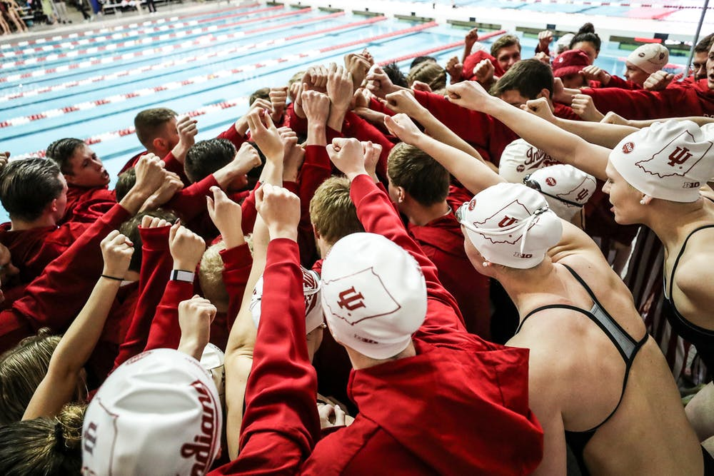 <p>The IU women&#x27;s swim and dive team huddles. Freshman swimmer Ryley Ober was training for the NCAA Championships before spring sports were canceled.</p>