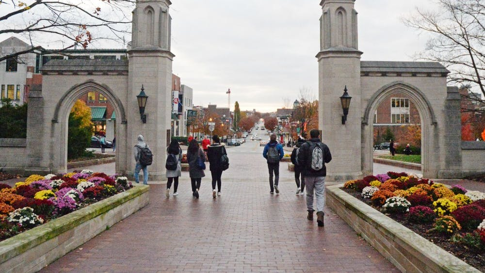 The Sample Gates are on Indiana Avenue next to Franklin Hall. The gates are one of the most recognizable symbols of IU.