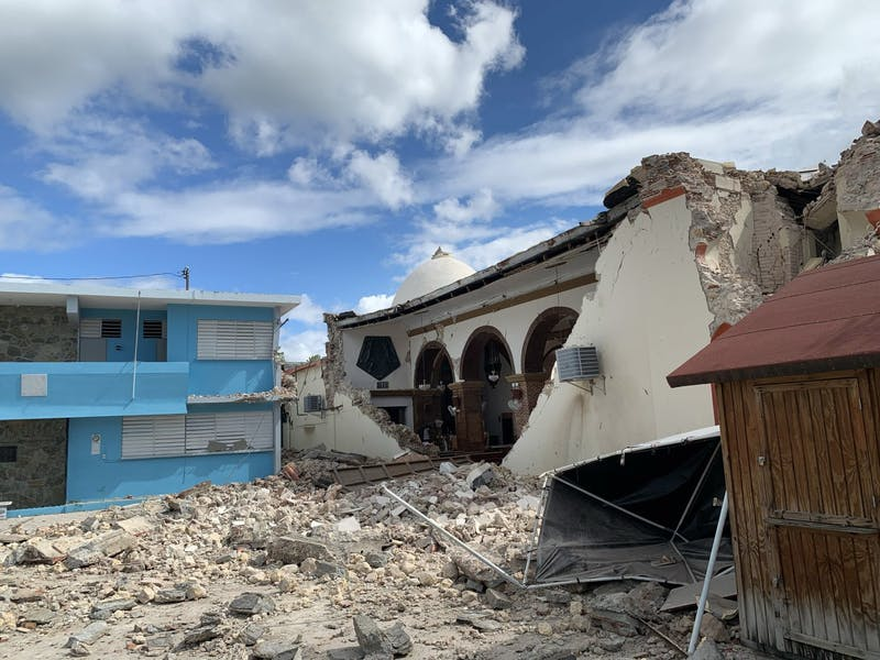 Parroquia Inmaculada Concepción church is seen after being by struck Jan. 7 by an earthquake in Guayanilla, Puerto Rico. The earthquake had a magnitude of 6.4.