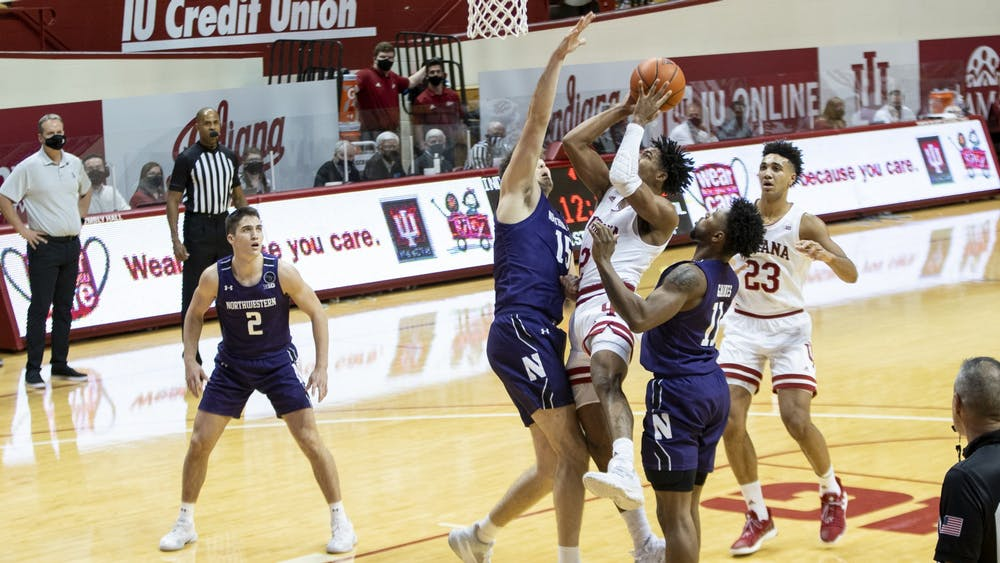 Sophomore guard Armaan Franklin goes in for the layup Dec. 23 at Simon Skjodt Assembly Hall. Franklin scored 16 of IU's 67 points.