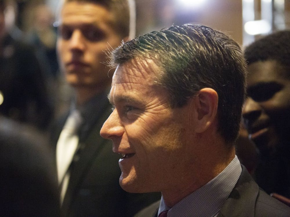 Sen. Todd Young, R-Ind., takes questions after ABC calls the U.S. Senate race in Indiana for Mike Braun on Nov. 6, 2018 at the JW Marriott in Indianapolis.