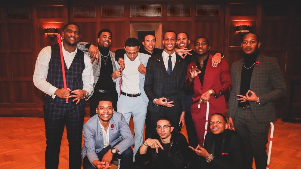 The Alpha chapter of Kappa Alpha Psi Fraternity, Incorporated, poses at the Black Diamonds and Pearls event in January in Alumni Hall.