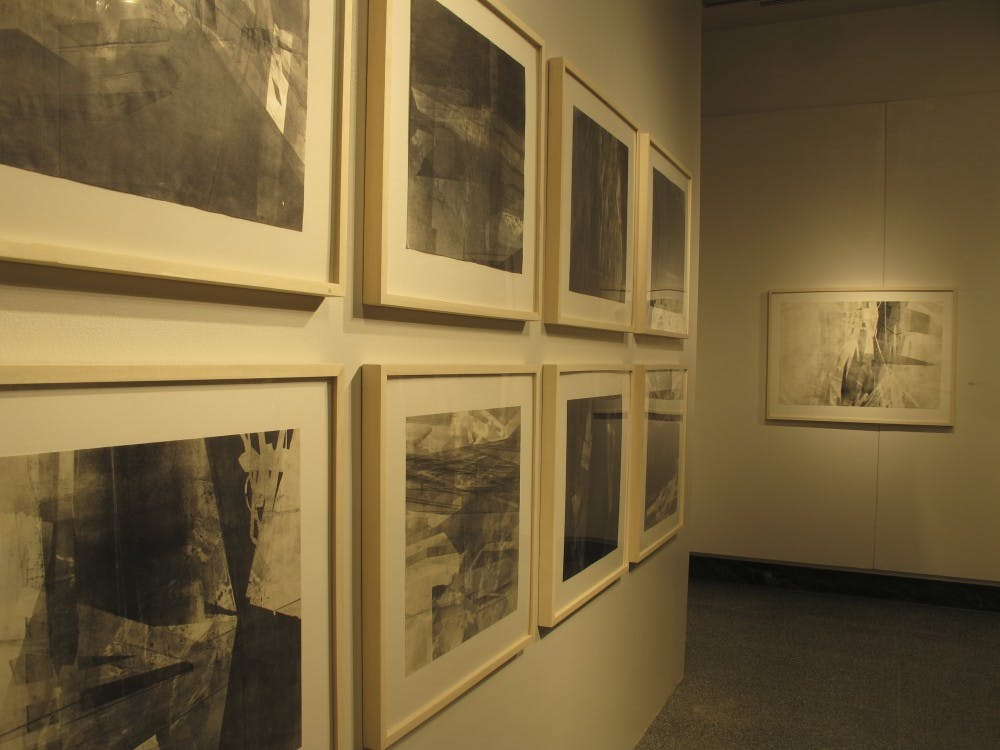 MFA Student Kristy Hughes' printmaking work on display Wednesday at the Grunwald Gallery of Art as part of the MFA Student Thesis Show.