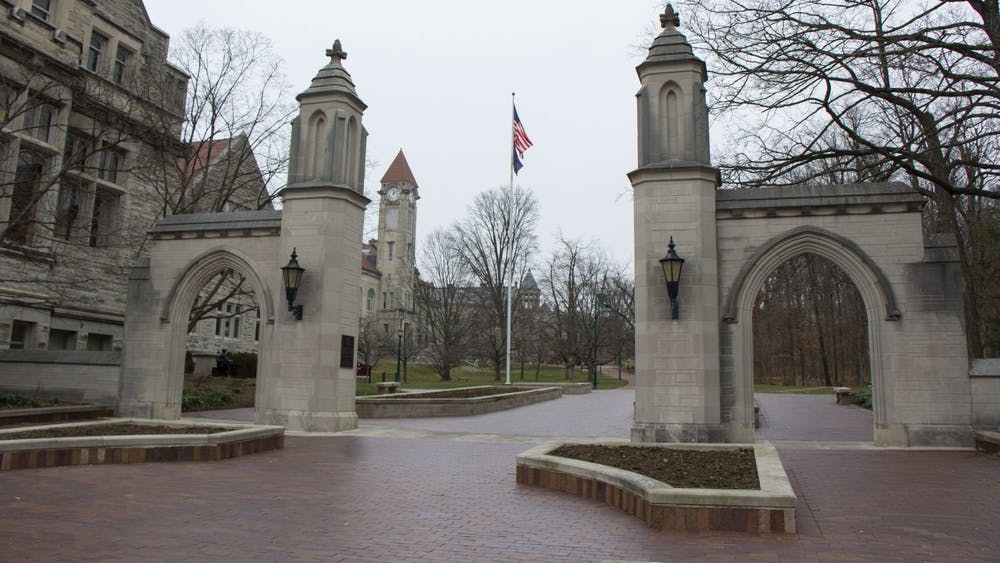 The Sample Gates entrance remains empty Jan. 11. IU students are required to receive a COVID-19 test upon arriving to Bloomington in January or February.