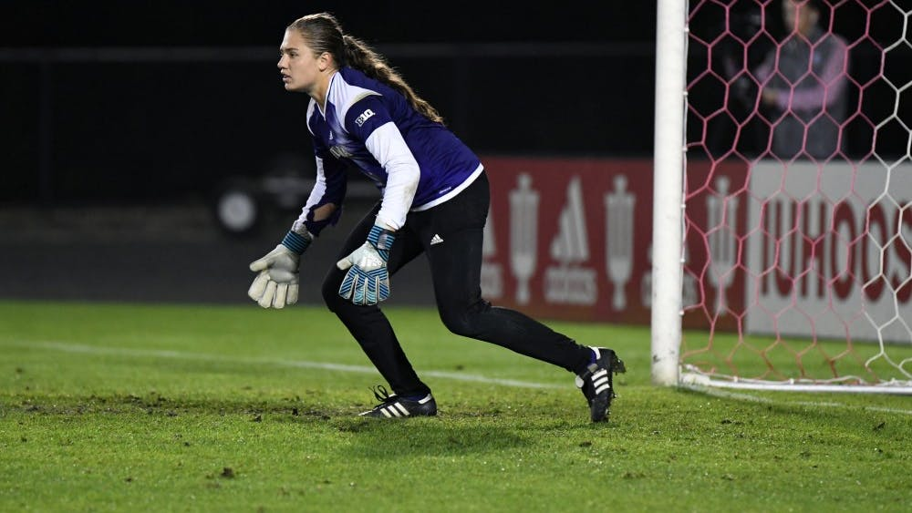 Then-freshman goalkeeper Bethany Kopel gets in position against Iowa at Bill Armstrong Stadium. The IU women's soccer team lost to Nebraska in overtime, 4-3, and will play at Iowa on Sunday.