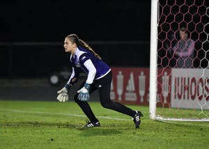 Then-freshman goalkeeper Bethany Kopel gets in position against Iowa at Bill Armstrong Stadium. The Iu women's soccer season opens against Wake Forest on Aug. 17.