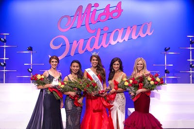 Begay stands with the top five contestants. Left to right: 3rd runner-up Kelsey Foster, 1st runner-up Grace Haase, Miss Indiana Haley Begay, 2nd runner-up Madison Seifert, 4th runner-up Andrea Kline. (Courtesy Photo of Olivia Ulch)