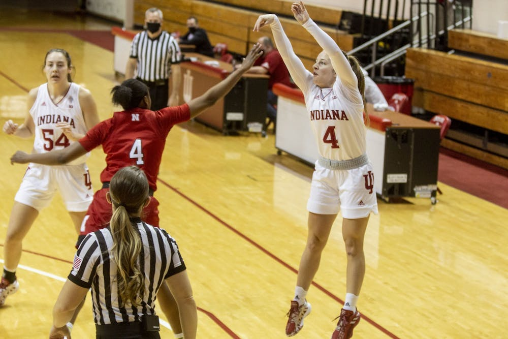 Redshirt junior Nicole Cardaño-Hillary attempts a 3-point shot Dec. 20 at Simon Skjodt Assembly Hall. Cardaño-Hillary scored five points in Sunday's victory over Nebraska.