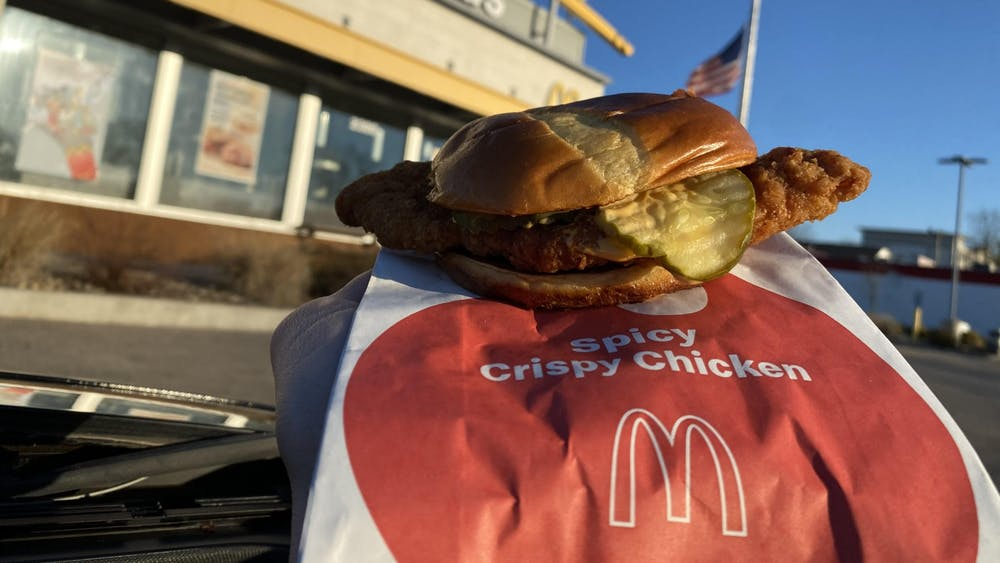 McDonald's new Spicy Crispy Chicken Sandwich is pictured Wednesday at McDonald's, located at 2300 N. Walnut St . McDonald's is now offering three new chicken sandwiches.