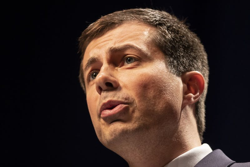 """South Bend Mayor Pete Buttigieg speaks June 11 at the IU Auditorium. """"We are turning away asylum seekers at our own border,"""" he said."""