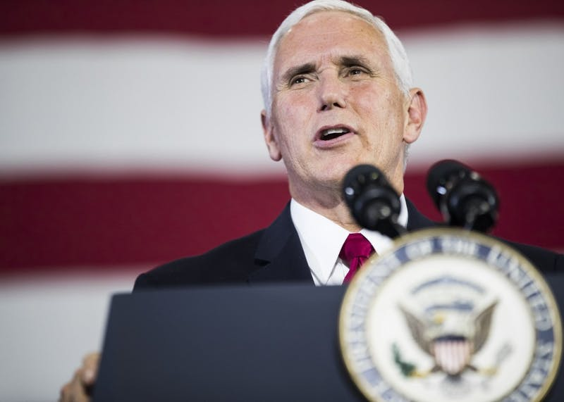 """Vice President Mike Pence speaks at the Wylam Center of Flagship East on Friday. Pence discussed tax reform, national security and healthcare. """"Indiana knows the truth,"""" said Pence. """"Tax cuts mean more jobs. Tax cuts mean high wages for our families. Tax cuts mean creating an economy where anything is possible, where anyone can achieve anything."""""""