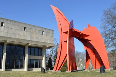 """Peau Rouge Indiana"" was created by Alexander Calder for the Jacobs School of Music's Musical Arts Center in the 1970s and is located in front of the MAC on Jordan Avenue. The sculpture was Calder's last site-specific work before his death."