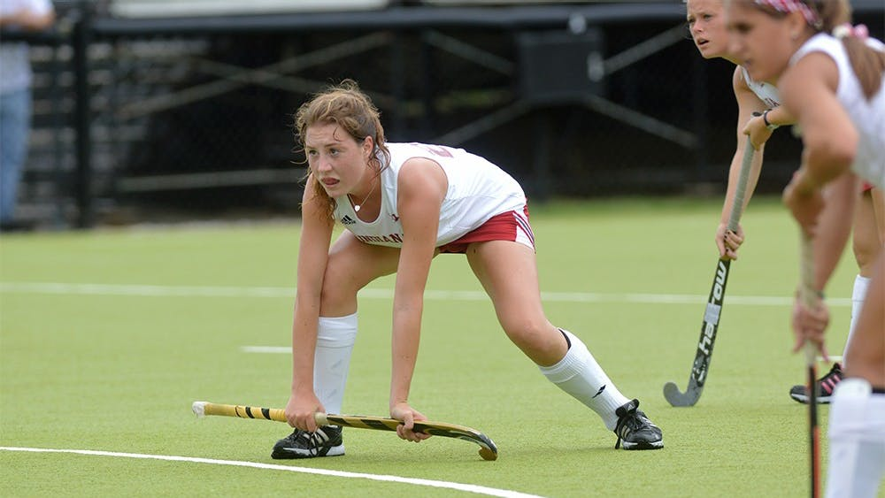 Freshman midfielder Charlie Kaste waits for the ball to be put into play during the game against Northwestern Sunday afternoon at IU Field Hockey Complex. The Hoosiers upset the number 14th ranked Northwestern 3-2.